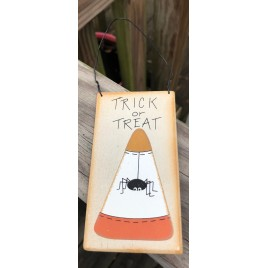 12CC Trick or Treat Spider on Candy Corn wood sign