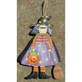 1244 - Wood Witch with Pumpkin and Broom