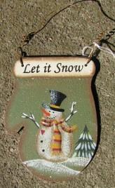 1394 - Let It Snow Green -Metal ornament