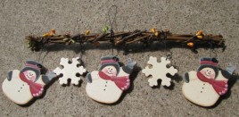 2029 - 3 snowman on branch with berries and snowflakes