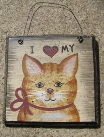 Cat Wood Sign WD203 - I Love My Cat