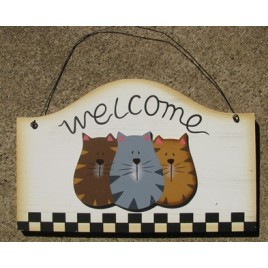Wood Cat Sign WD2075 - Welcome Cat