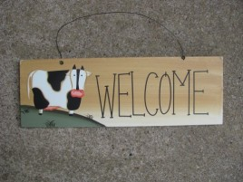 wd2077-Welcome Cow Wood Sign