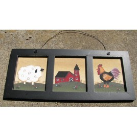 WD2078 - Sheep Barn Chicken Canvas wood sign