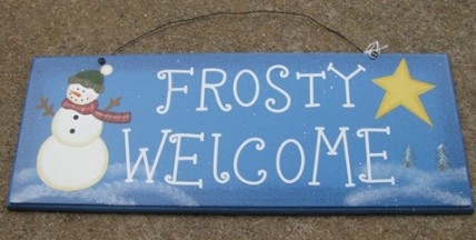 2081 - Frosty Welcome Snowman wood sign