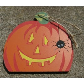 WD46- Wood Pumpkin with Spider