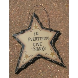 wd814 - In Everything Give Thanks Wood Star