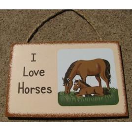 WS92 - I Love Horses Wood sign